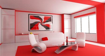 Habitación en color rojo (hecho en 3d)