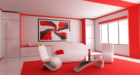 Room in red colour (done in 3d) photo