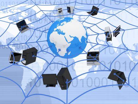 wireless internet: abstract presentation of the internet web    Stock Photo