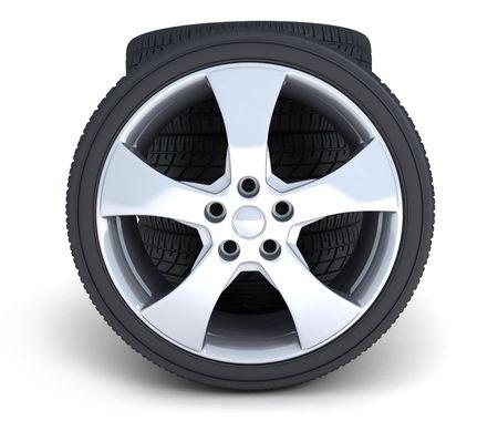 ruedas de coche: cuatro ruedas de autom�vil sobre un fondo blanco