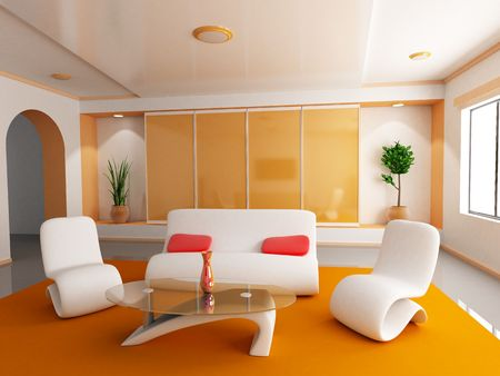 Room in orange colour (done in 3d) Stock Photo