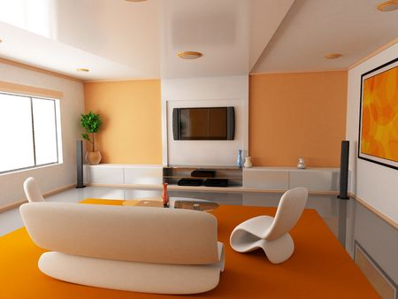 Room in orange colour (done in 3d)  photo