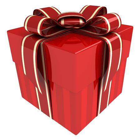 cadeaupapier: Red geschenk (gedaan in 3d, geïsoleerd)