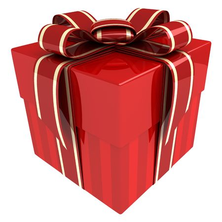 Red gift (done in 3d, isolated)
