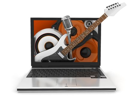 hardrock: musical laptop standing on a white background