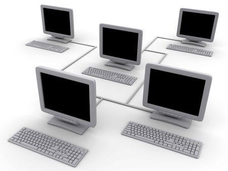 Network five computers (done in 3d, isolated) photo