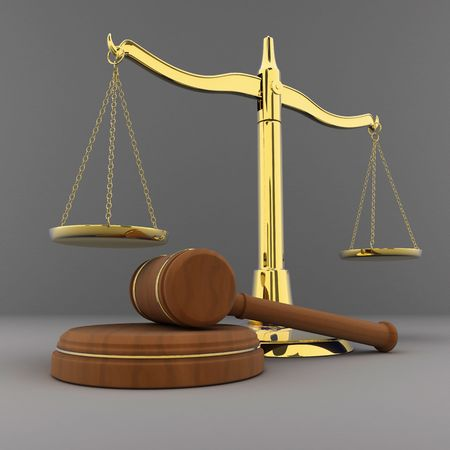 gold scales and hammer (done in 3d) Stock Photo - 6355313