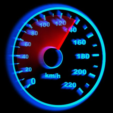 speedometer and arrow on 140 (done in 3d) photo