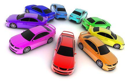 Une voiture sportive sur un fond blanc (3d fait) Banque d'images - 6445350
