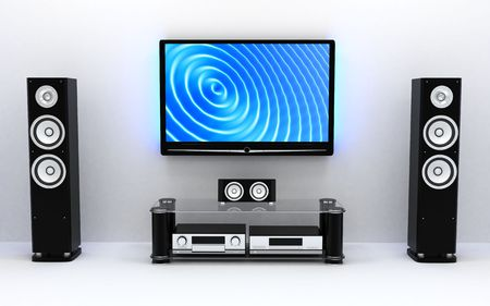 home theater: Home-cinema moderno (fatto in 3d)
