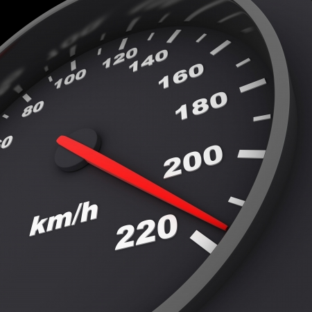 speedometer and arrow on 220 (done in 3d) Stock Photo - 6533766