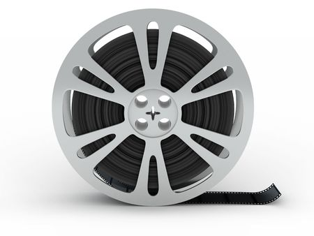 movie reel: spool film on white background (done in 3d)