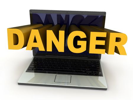 Laptop danger symbol (done in 3d, isolated) Stock Photo - 6574706
