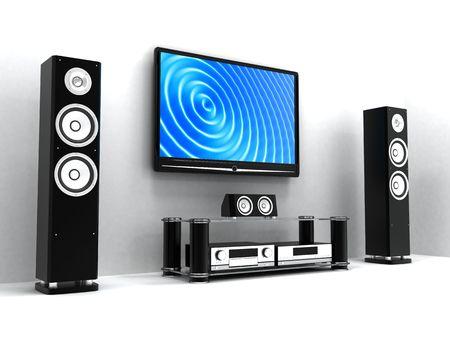 stereo: Home-Cin�ma moderne (fait en 3d)   Banque d'images