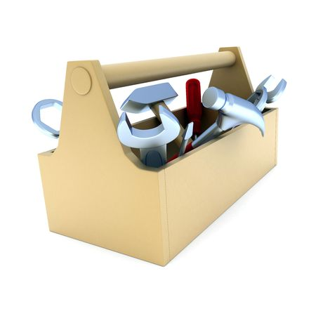 carpentry: toolbox, white and isolated  background (done in 3d) Stock Photo
