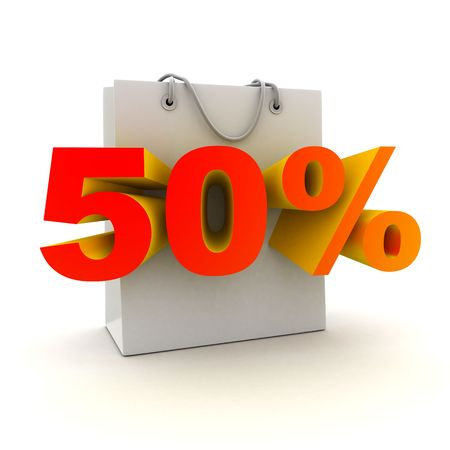 abatement: Bag 50% (done in 3d, isolated)   Stock Photo