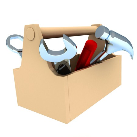 tool box: toolbox, white and isolated  background (done in 3d)