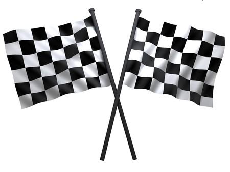 schwarz weiss kariert: Flagge der Start- oder Finesha, in 3d getan