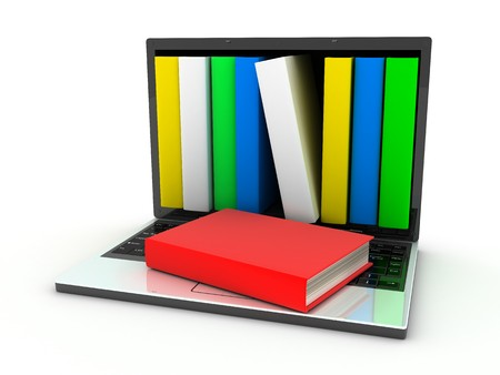 books and computer (done in 3d, isolated)    Stock Photo - 7444236