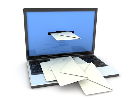 telegram: laptop and mail (done in 3d, isolated) Stock Photo