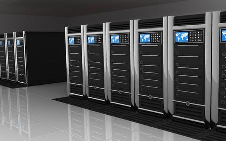 computer server: presentation server-room of the server on earth
