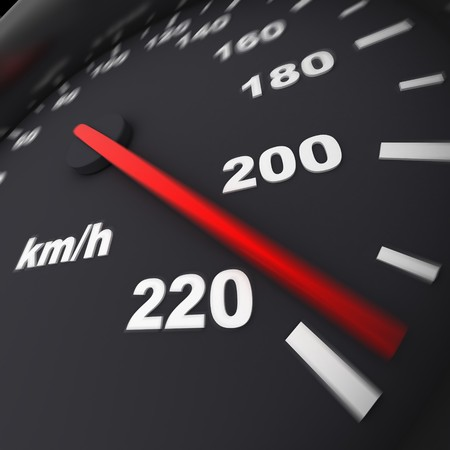 exceed: speedometer and arrow on 220 (done in 3d)