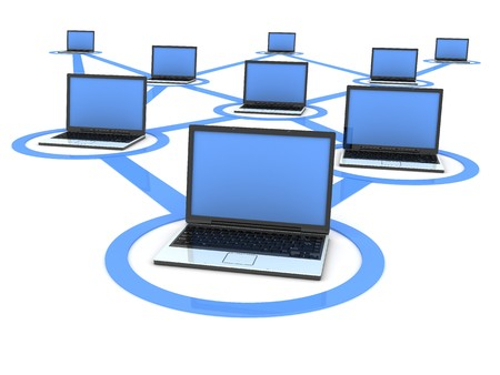 network cables: laptop network, blue (done in 3d, isolated) Stock Photo