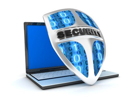 Shield antivirus and laptop, abstract (done in 3d) Stock Photo - 7644838