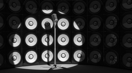 microphone and audio background (done in 3d) Stock Photo - 7644839