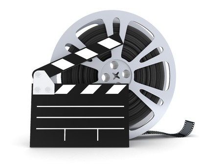 films: film on a white background in 3d      Stockfoto