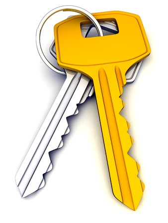 Two keys (done in 3d, isolated background)  photo