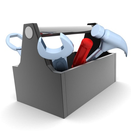 kit: Toolbox, white and isolated  background (done in 3d)    Stock Photo