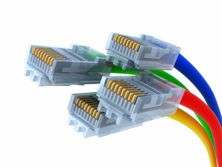Four net cable (done in 3d, isolated) Stock Photo - 7800315
