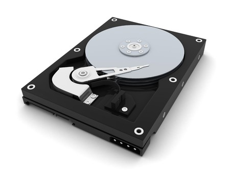 sata: HDD, computer part (done in 3d, isolated)  Stock Photo