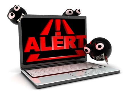 internet attack: Attack virus on laptop, abstract (done in 3d)    Stock Photo