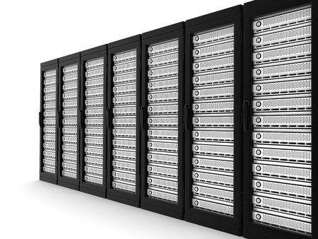 highend: Server high-end row (done in 3d, isolated)    Stock Photo