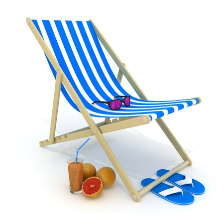 deckchair: Beach bed blue (done in 3d, isolated)