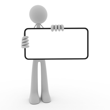 man holding a blank sign: People hold in ones hand blank (done in 3d, isolated)