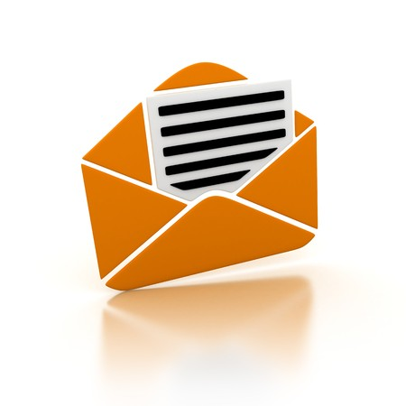 consignor: Abstract orange e-mail (done in 3d, isolated)
