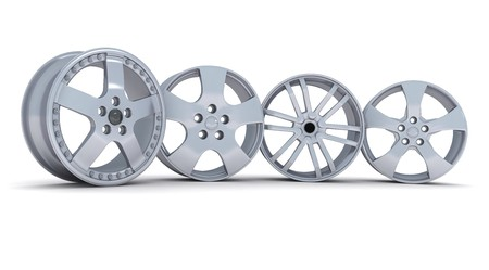 chrome wheels: Four car disc on a white background (done in 3d)      Stock Photo