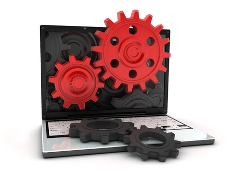 laptop and gears red (done in 3d, isolated)    photo