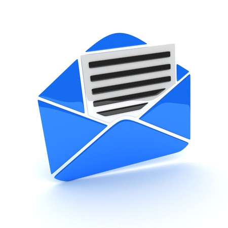 consignor: Abstract blue e-mail (done in 3d, isolated)