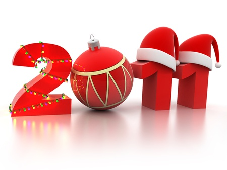 2011 new year (done in 3d, isolated)     Stock Photo - 8297701