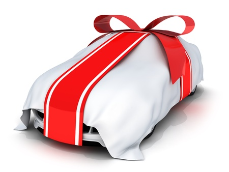 carro supermercado: Regalo de coche y cinta roja (hecho en 3d, aislada)