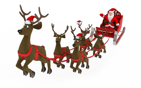 Fly santa and deep (done in 3d, isolated) Stock Photo - 8431510