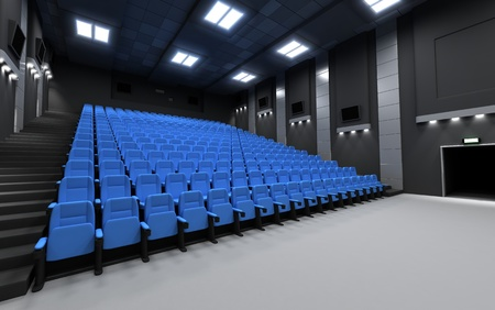 cinematograph: Back view cinema, empty (done in 3d) Stock Photo