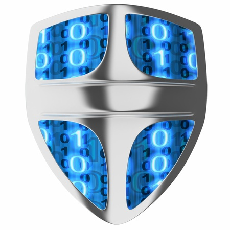 Shield computer, abstract (done in 3d, isolated) Stock Photo - 9135681