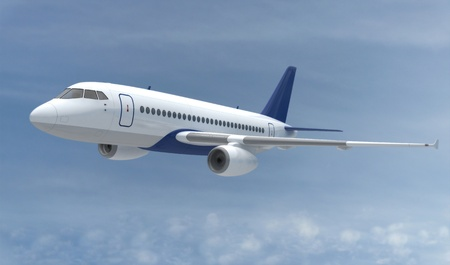 airbus: flying Airplane  in the sky  (done in 3d)  Stock Photo