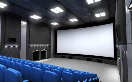 cinematograph: Front view cinema, empty (done in 3d)