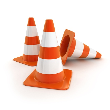 road barrier: Orange road cones (isolated, done in 3d)